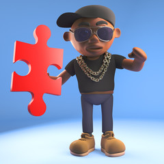 3d cartoon black hiphop rapper emcee in baseball cap holding a piece of a jigsaw puzzle, 3d illustration