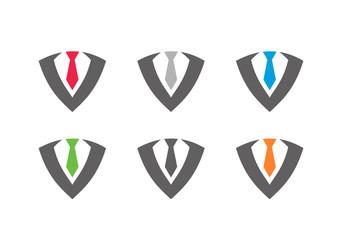 Tuxedo or business suit logo template, tie design concept - Vector