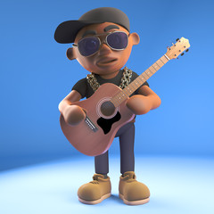 Cartoon 3d black hiphop rapper emcee character playing an acoustic guitar, 3d illustration