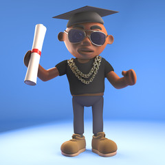 3d cartoon black hiphop rapper emcee character matriculating with mortar board and diploma scroll, 3d illustration