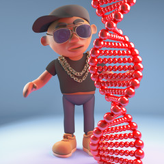 Cartoon 3d black hiphop rapper emcee character looking at genetic dna double helix, 3d illustration