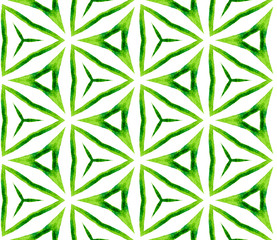 Green kaleidoscope seamless pattern. Hand drawn wa