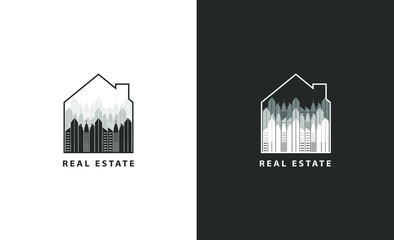 Real estate and abstract logo isolated.  City vector image