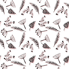 Floral stylish background with graphic leaves and berries. Seamless pattern hand drawn ink botanical illustration  of wild branches isolated on white background. Design for textile, wrapping or wallpa