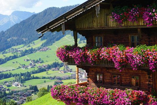 schönes traditionelles Bauernhaus mit Blumenpracht in Alpbach, Tirol, Austria