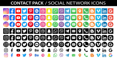 Facebook, twitter, instagram, youtube, snapchat, pinterest, whatsap, linkedin, google, vimeo - Collection of popular contact social icons. Editorial vector. Vinnitsa, Ukraine - September 18, 2019