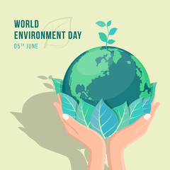 Fototapeta world environment day banner with hand hold leaf and seed plant on circle earth world vector design