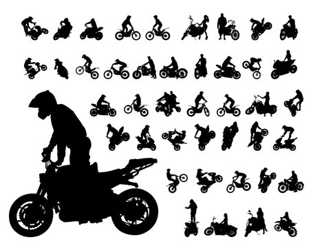 Set of motor bike and man white background