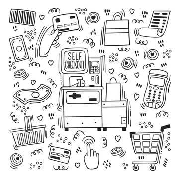 Self-service cashier or terminal doodle style. Vector set on 'Self Checkout' shop cashier outline. Self service cash desk with cash machine, money bill, plastic card,  check, hand with card