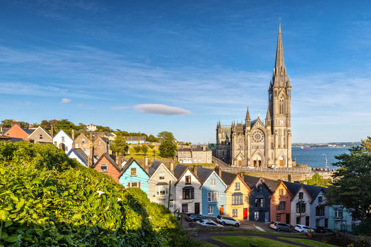 Impression of the St. Colman's Cathedral in Cobh near Cork, Ireland
