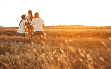 Anonymous family enjoying sunset in countryside