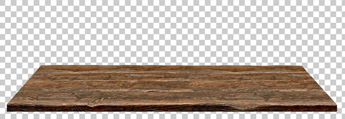 Aluminium Prints Wood Perspective view of wood or wooden table top isolated on checkered background including clipping path