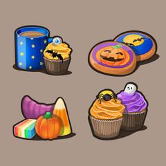 Halloween icon set. Vector Illustration