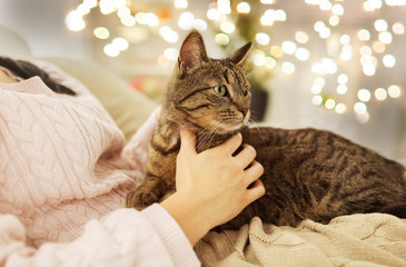 Fototapete - pets, hygge and people concept - close up of female owner with tabby cat in bed at home