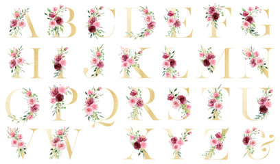 Gold alphabet, set letters with watercolor flowers roses and leaf. Floral monogram initials perfectly for wedding invitation, greeting card, logo, poster and other. Holiday design hand painting.