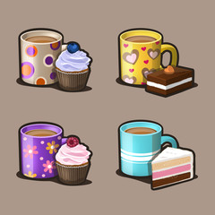 Dessert and coffee icon set. Vector Illustration