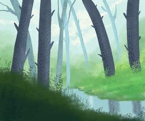 Spring, summer forest landscape with river.