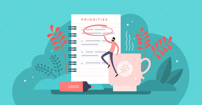 Priorities vector illustration. Tiny agenda importance list persons concept