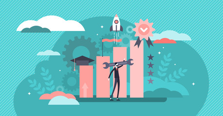 Skills vector illustration. Flat tiny business knowledge persons concept.