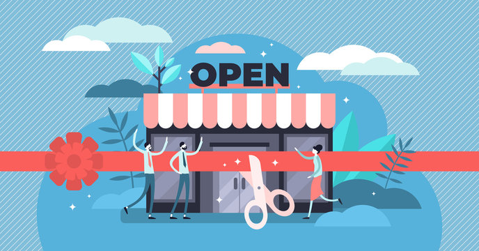 Open business vector illustration. Tiny commerce beginning persons concept.