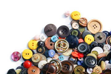 Fond de hotte en verre imprimé Macarons Sewing buttons of different colors on an isolated background