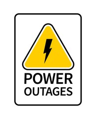 Power outage sign. Vector warning sign with lightning.