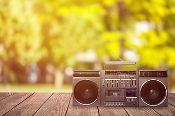 Old retro radio  on background