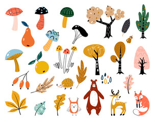 Hand drawn big vector set of various types of mushrooms, autumn leaves, rowan, acorn and chestnut. Big set of cute autumn animals, plants and sweets.