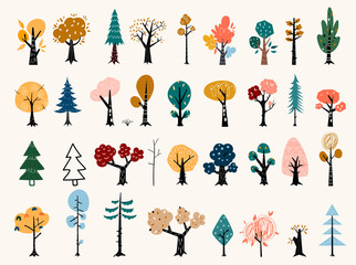 Set of trees in a flat style. Tree icons set in a modern flat style. Pine, spruce, oak, birch, trunk, aspen, alder, poplar, chestnut, apple tree.