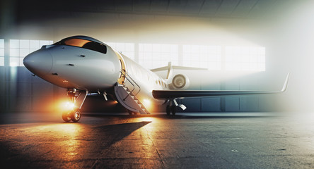 Business private jet airplane parked at terminal and ready to flight. Luxury tourism and business travel transportation concept. 3d rendering Wall mural