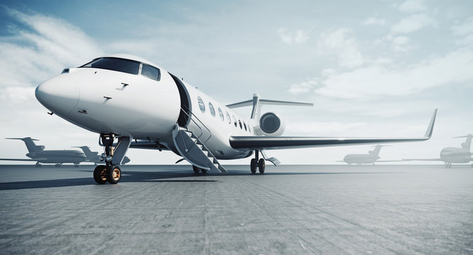 Business private jet airplane parked at airfield and ready for flight. Luxury tourism and business travel transportation concept. 3d rendering
