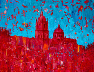 Abstract art painting of the Salamanca church