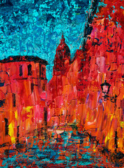 Abstract art painting of the old city