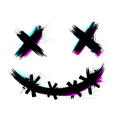 Vector Illustration Crazy Scary Brush Stroke Smile With 3D Tech Glitch Effect