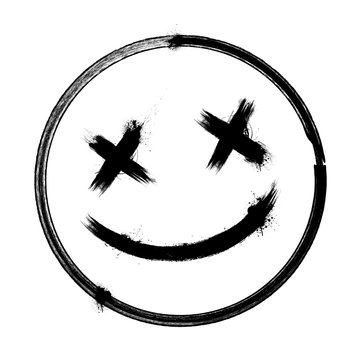 Vector scary hand drawn dead emoji, ink brush dead emoticon smiley icon on a white background