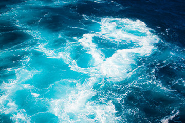 Amazing colours water with waves of the Mediterranean sea