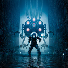 Entering the temple / 3D illustration of science fiction scene showing evil skull faced astronaut exploring watery corridor with giant robot