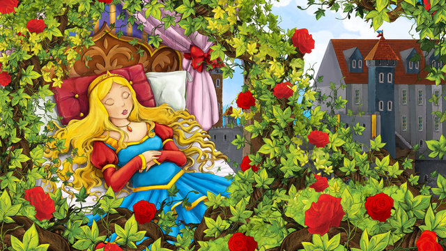 Cartoon scene of rose garden with sleeping princess near castle in the background illustration for children