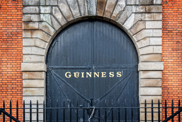 DUBLIN, IRELAND Gate at the Guinness storehouse brewery. The Guinness Storehouse is a popular tourist attraction in Dublin
