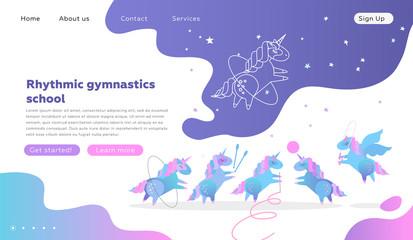 Lamas personalizadas infantiles con tu foto Web page design templates for rhythmic gymnastics school. Modern illustration concept for website development. Cute unicorns doing rhythmic gymnastics with ribbon, ball, hoop, skipping rope