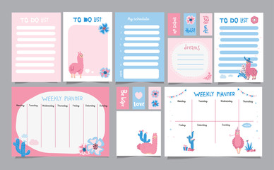 Set of planners and to do lists with simple scandinavian illustrations and trendy lettering with cacti and cute llama characters. Template for agenda, planners and other stationery. Isolated.