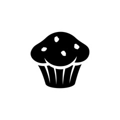 Black Muffin Icon isolated on a White Background Illustration