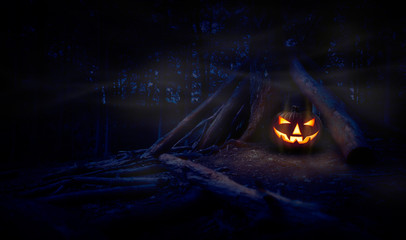 A single halloween Jack O Lantern hiding in a wood shelter, campsite on the forest floor on the right side of frame with space for text on the left.