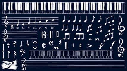 Music notes doodles set. Piano keys sketch. Treble clef. Hand drawn detailed sketch. G-clef. Scribbles collection. Scrawl. Piano. Organ. Symphony. Melody. Classic music.