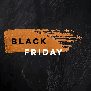 Black Friday sale vector banner with a golden bronze brush stroke texture on a black slate background, with a place for text and logo, square frame