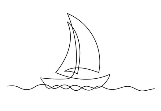 Continuous one line drawing of sailboat. Business icon.
