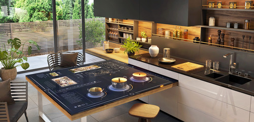 Beautiful and modern kitchen with smart home control panel
