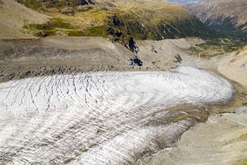 Svizzera - Engadina - Rifugio Boval - Ghiacciaio del Morteratsch - vista aerea (settembre 2019)