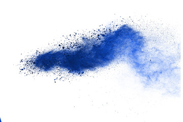 Abstract blue powder explosion isolated on white background. Wall mural