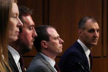 Facebook's Bickert, Twitter's Pickles, Google's Slater and ADL's Selim testify before a U.S. Senate Commerce Committee hearing on extremism on social media platforms in Washington